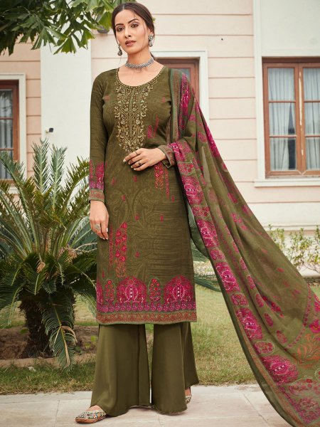 Dark Olive Green Crepe Embroidered Festival Palazzo Pant Kameez
