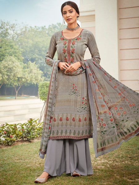 Gray Crepe Embroidered Festival Palazzo Pant Kameez