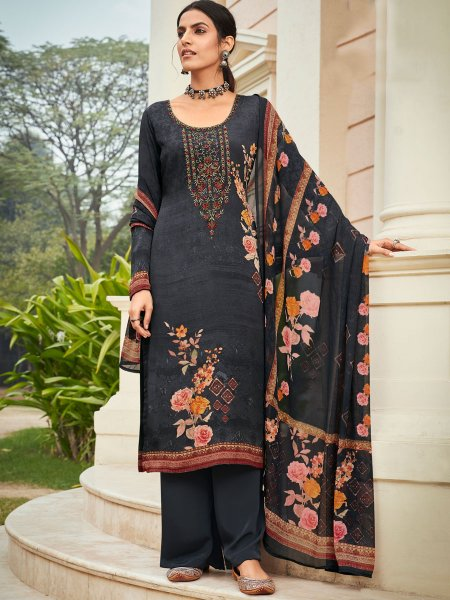 Black Crepe Embroidered Festival Pant Kameez