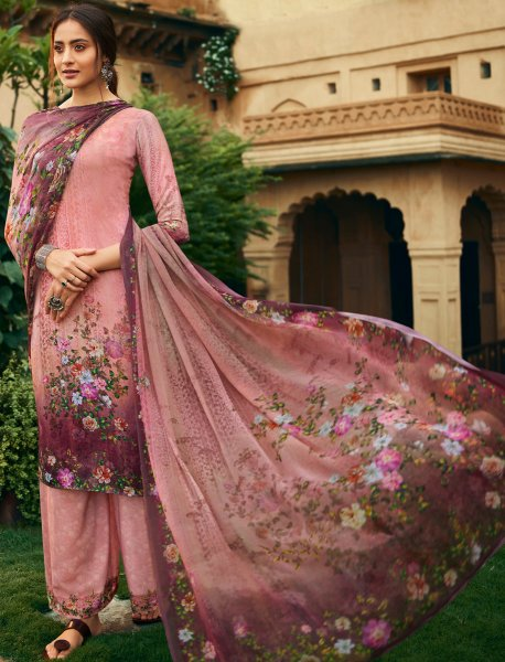 Salmon Pink Crepe Printed Party Palazzo Pant Kameez