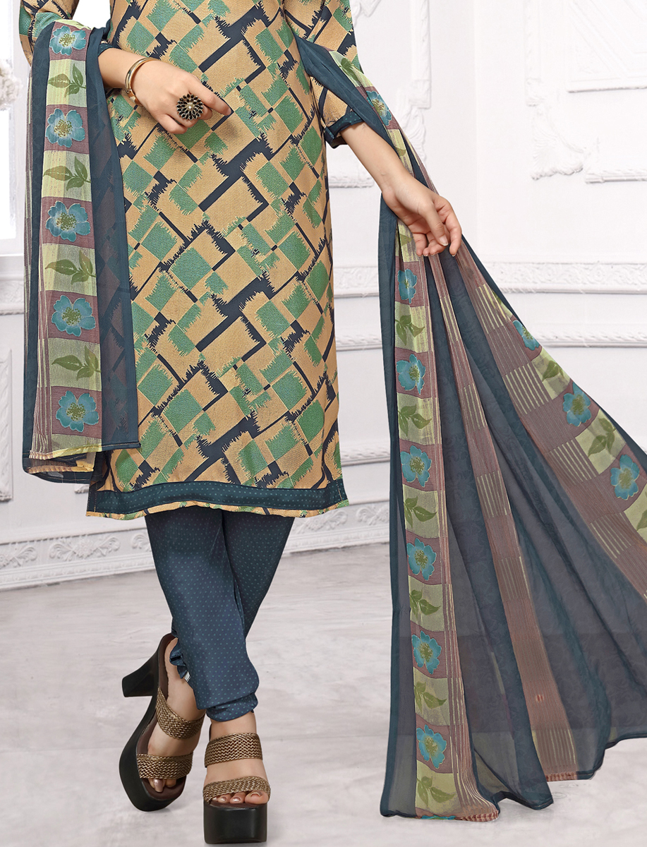 Beige Yellow and Sea Green  Crepe Printed Casual Churidar Pant Kameez