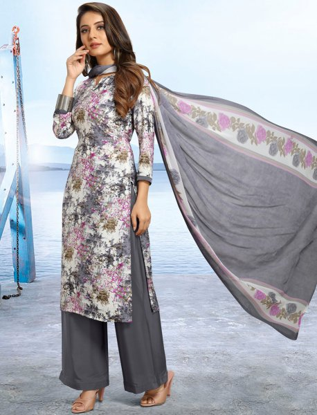 White and Gray Crepe Printed Casual Palazzo Pant Kameez