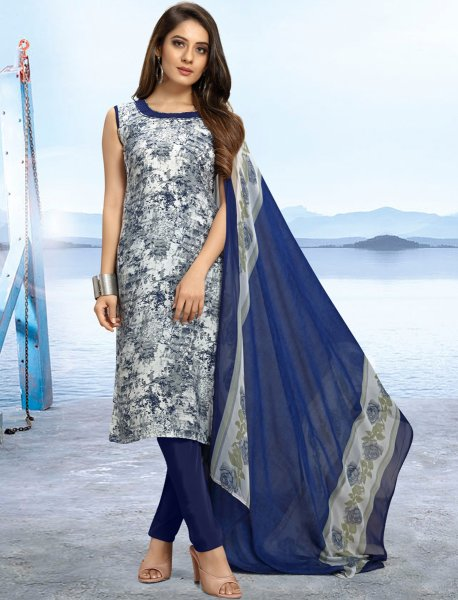 White and Navy Blue Crepe Printed Casual Pant Kameez