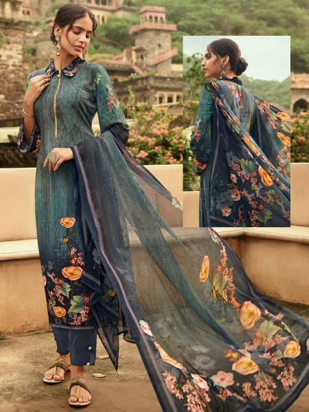 Midnight Green Crepe Printed Casual Pant Kameez