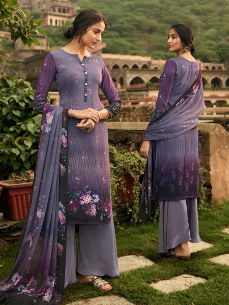 Light Purple Crepe Printed Casual Palazzo Pant Kameez