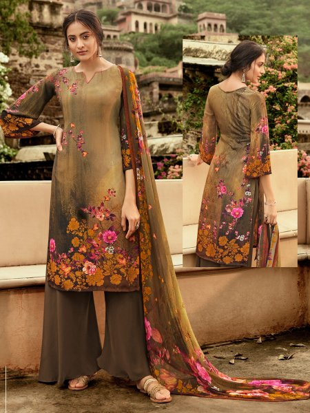Copper Brown Crepe Printed Casual Palazzo Pant Kameez