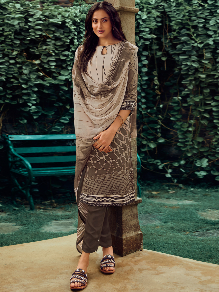 Off-White and Sepia Brown Crepe Printed Casual Pant Kameez