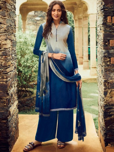 Off-White and Navy Blue Crepe Printed Casual Palazzo Pant Kameez