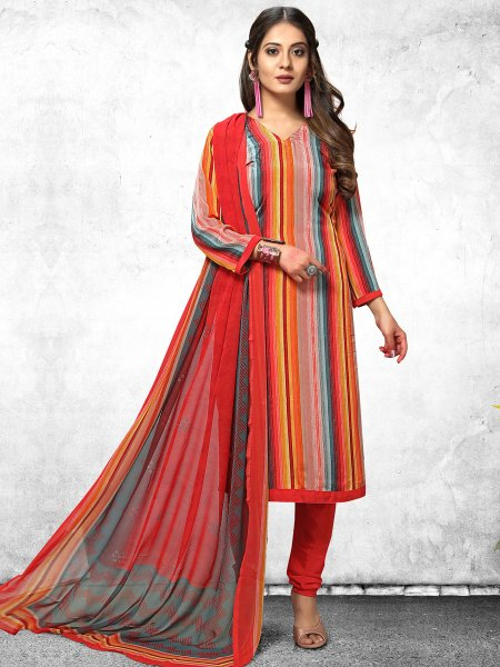 Light Pink and Vermilion Red Crepe Printed Casual Churidar Pant Kameez