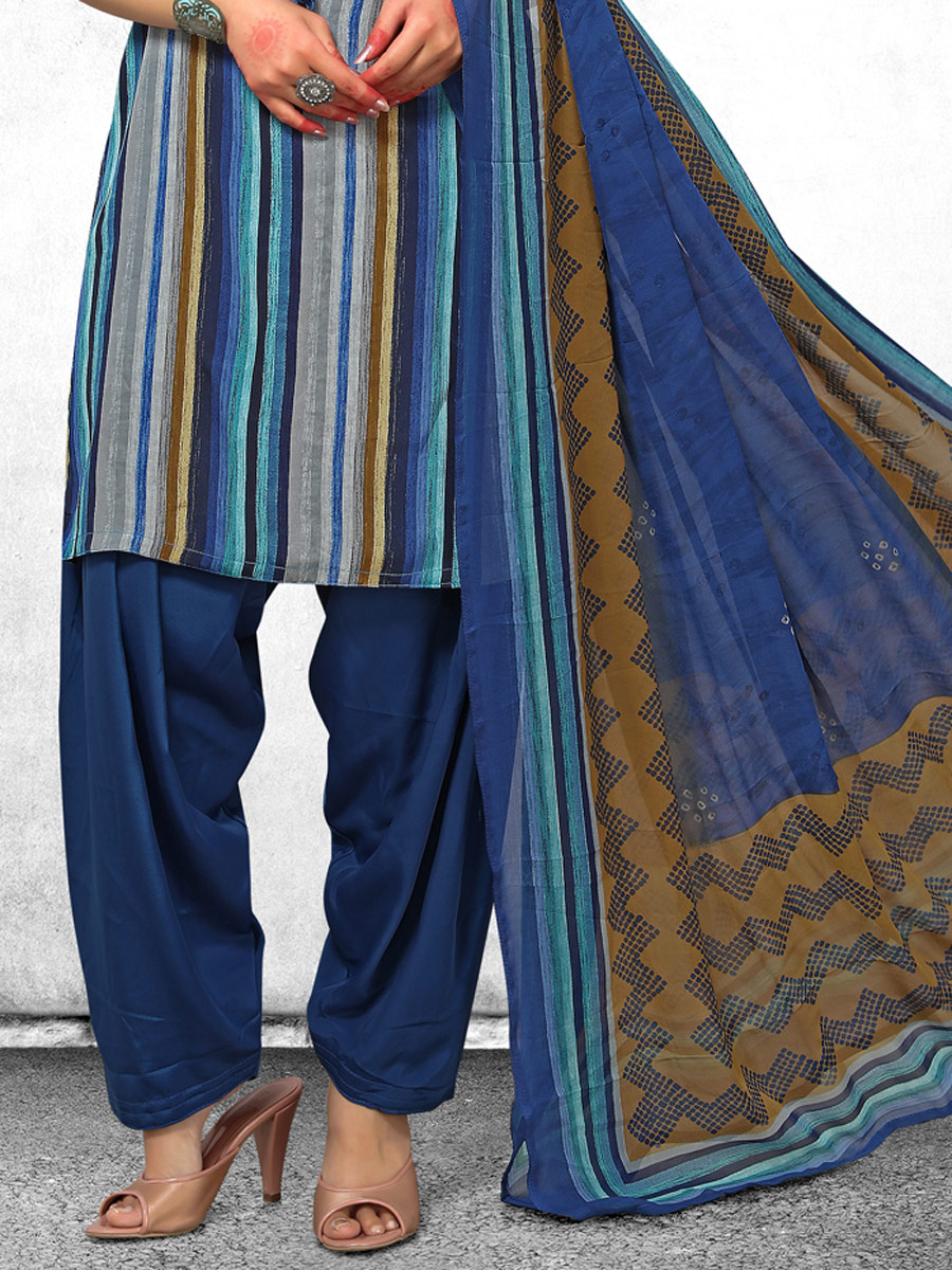 Navy Blue and Gray Crepe Printed Casual Salwar Pant Kameez