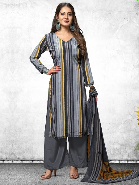 Gray and Black Crepe Printed Casual Palazzo Pant Kameez