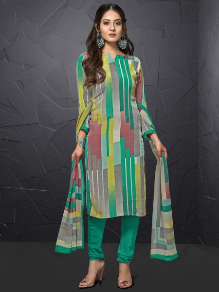 Persian Green and Gray Crepe Printed Casual Churidar Pant Kameez