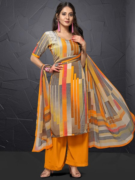 Orange Peel and Gray Crepe Printed Casual Palazzo Pant Kameez
