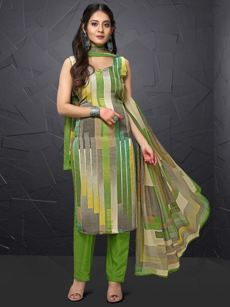 Olive Drab Green and Gray Crepe Printed Casual Pant Kameez