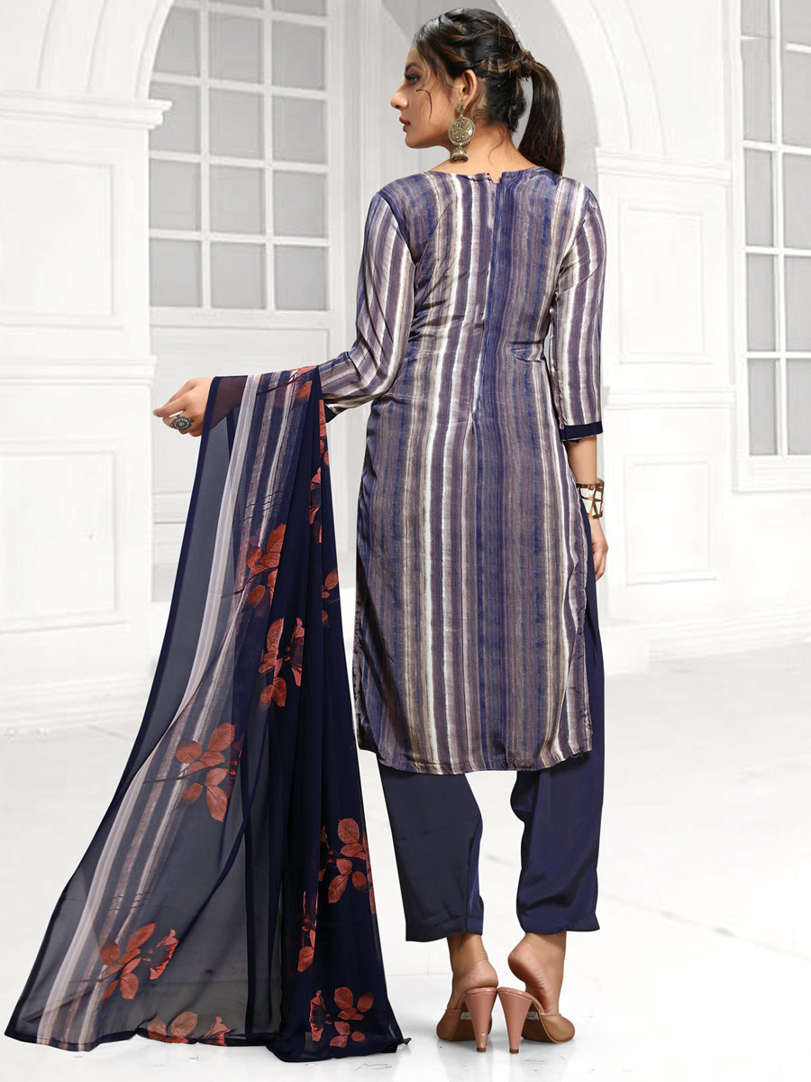Off-White and Navy Blue Crepe Printed Casual Salwar Pant Kameez
