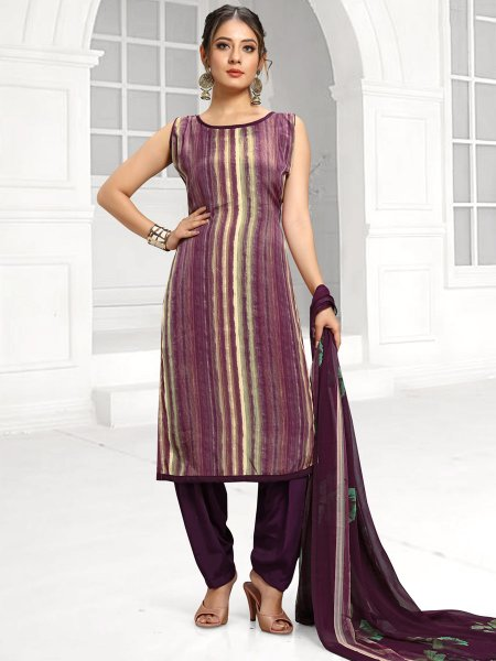 Light Purple and Off-White Crepe Printed Casual Salwar Pant Kameez