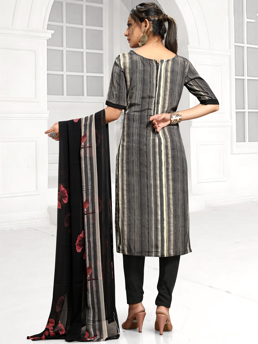 Off-White and Gray Crepe Printed Casual Pant Kameez