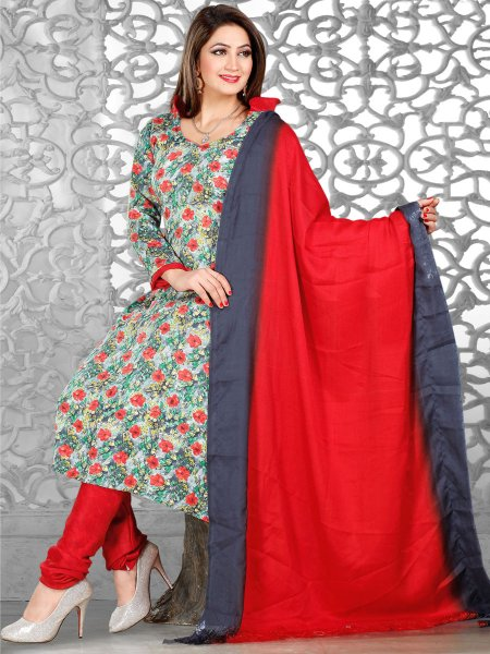 Light Green Pashmina Printed Casual Churidar Pant Kameez