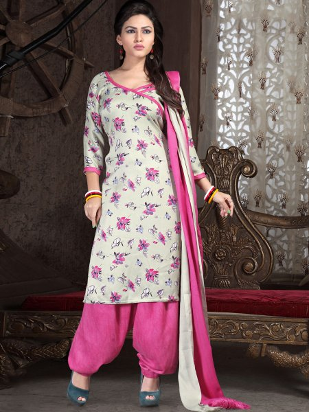 Off-White Pashmina Printed Casual Patiala Pant Kameez