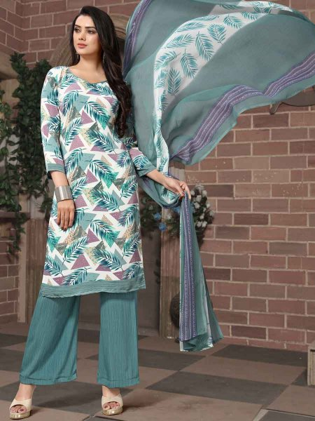 White and Viridian Green Crepe Printed Casual Palazzo Pant Kameez