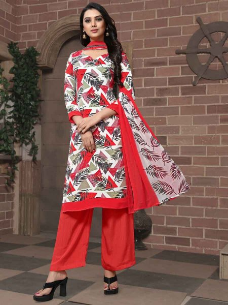 White and Rose Madder Red Crepe Printed Casual Palazzo Pant Kameez