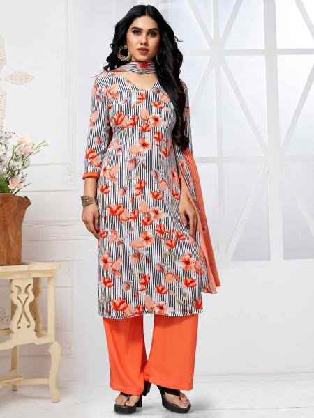 White and Coral Orange Crepe Printed Casual Palazzo Pant Kameez