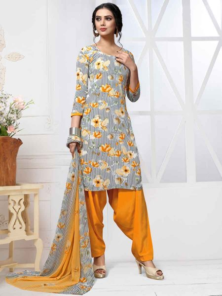 White and Amber Yellow Crepe Printed Casual Patiala Pant Kameez