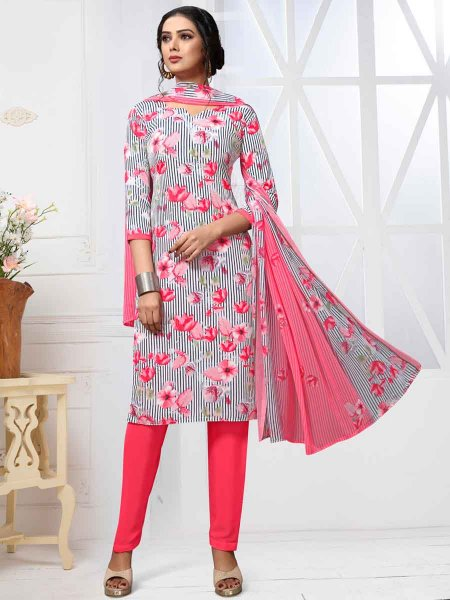 White and Cerise Pink Crepe Printed Casual Pant Kameez