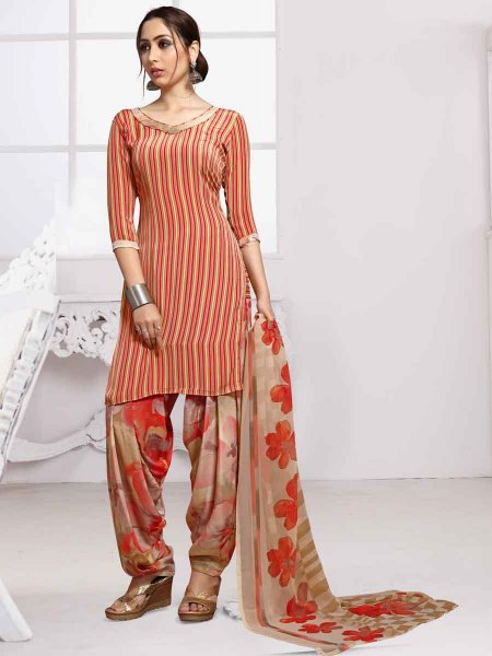 Rose Madder Red and Flax Yellow Crepe Printed Casual Patiala Pant Kameez