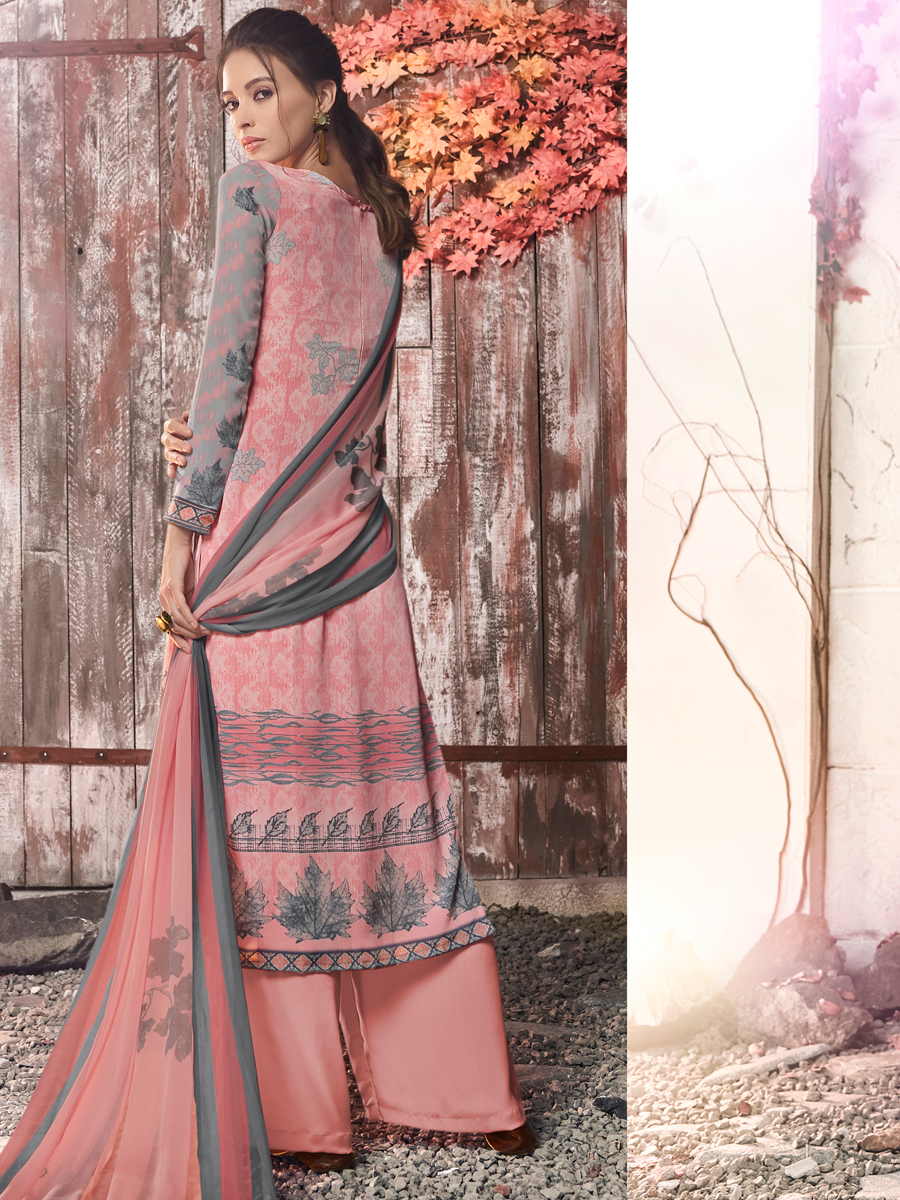 Light Pink and Grey Crepe Printed Casual Palazzo Pant Kameez