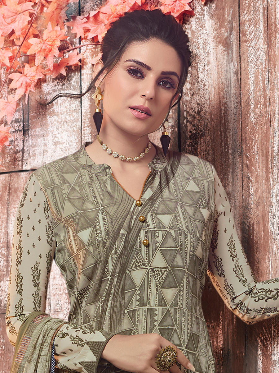 Camouflage Green Crepe Printed Casual Pant Kameez