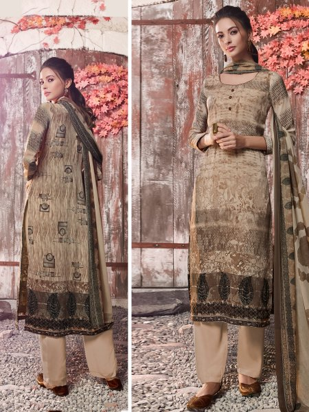 Tan Brown Crepe Printed Casual Pant Kameez
