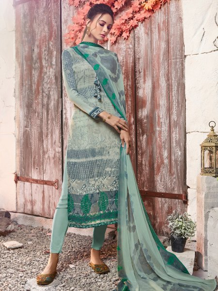 Light Viridian Green Crepe Printed Casual Pant Kameez