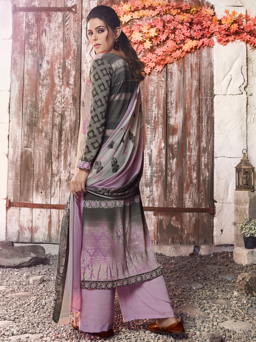 Mauve Violet and Grey Crepe Printed Casual Palazzo Pant Kameez