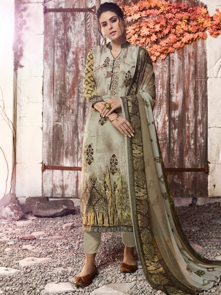 Tea Green Crepe Printed Casual Pant Kameez