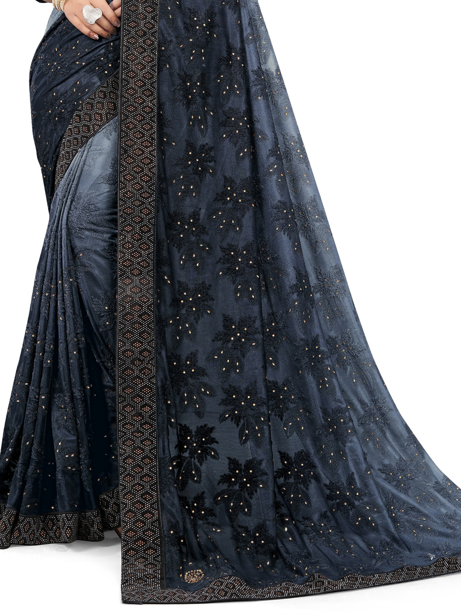Dark Gray and Light Gray Jacquard Designet Party Saree