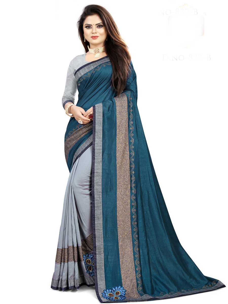 Cerulean Blue and Light Gray Vichitra Silk Designet Party Saree