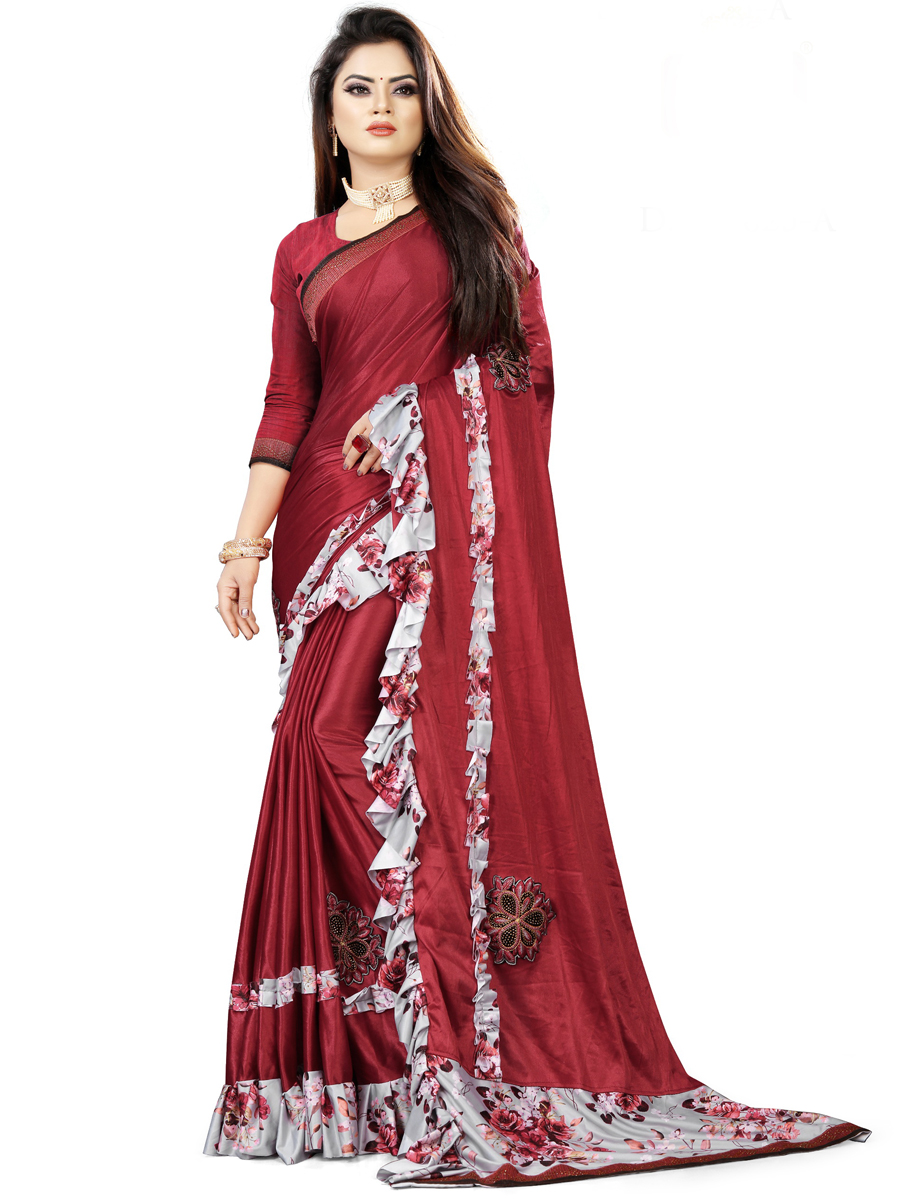 Venetian Red Imported Fabric Designet Party Saree