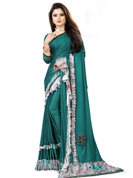 Pine Green Imported Fabric Designet Party Saree