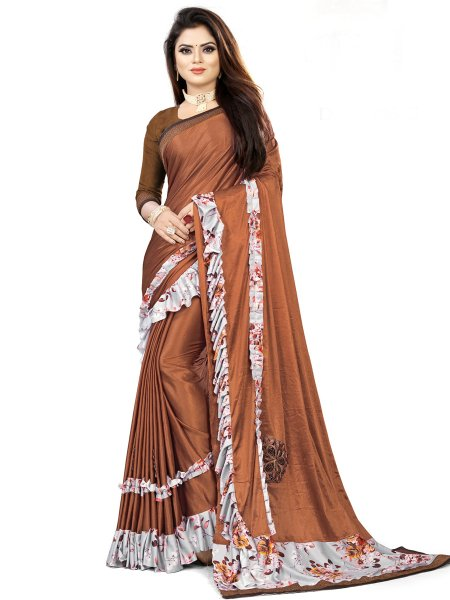 Sienna Brown Imported Fabric Designet Party Saree