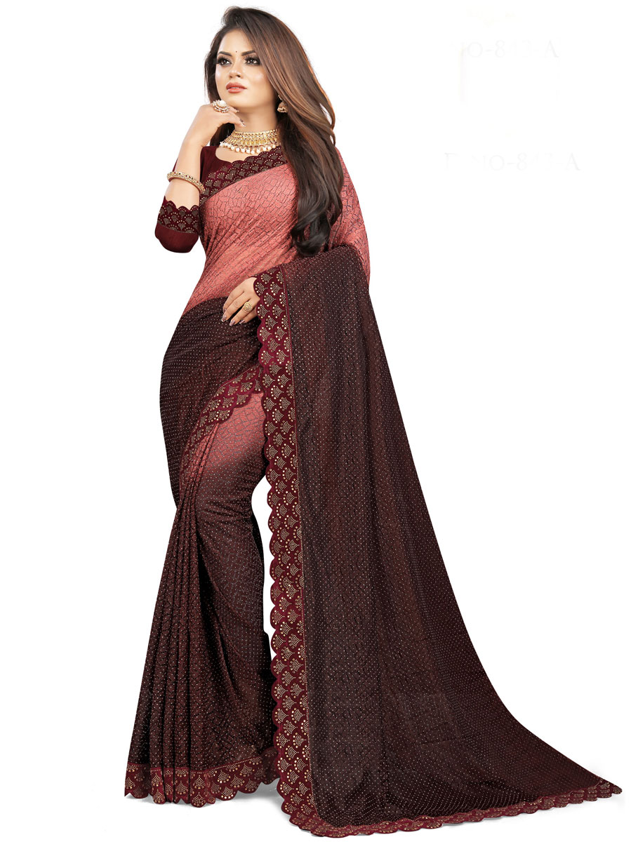 Chestnut Red and Dark Maroon Net Designer Festival Saree