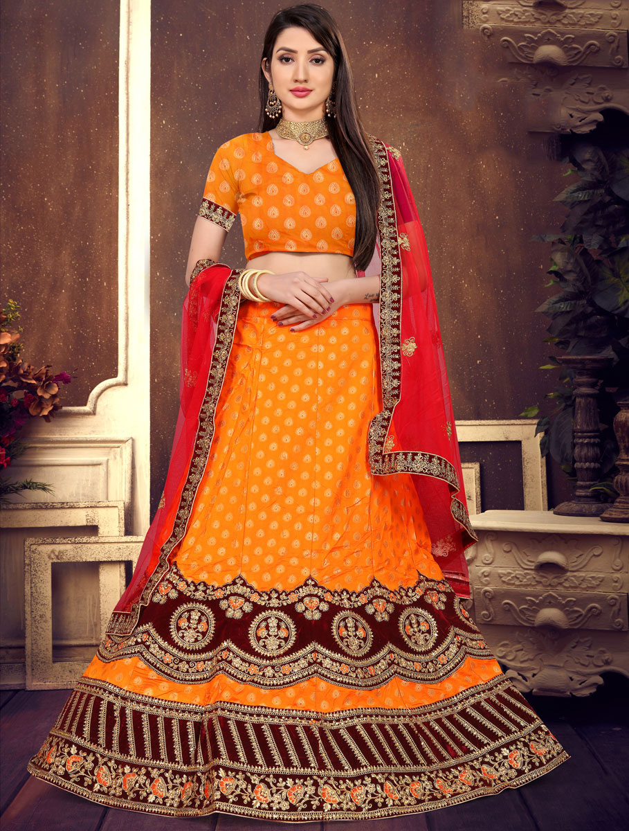 Pumpkin Orange Brocade Silk Embroidered Festival Lehenga Choli