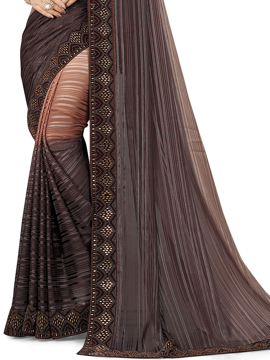 Coral Pink and Auburn Brown Chiffon Designer Party Saree