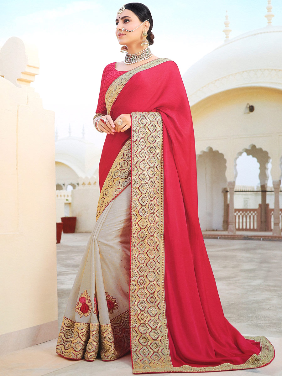 Rose Madder Red and Cream Yellow Silk Embroidered Party Saree