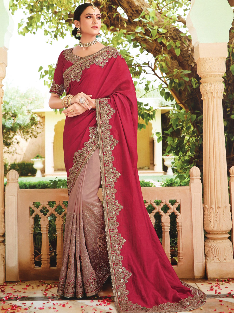 Light Thulian Pink and Dark Pink Silk Embroidered Party Saree