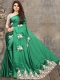Jade Green Satin Designer Party Saree