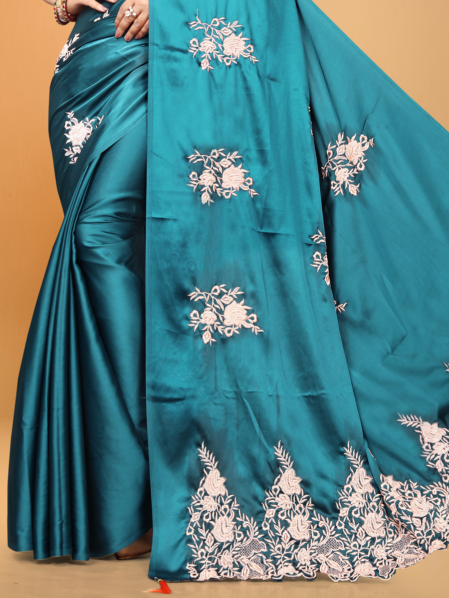 Cerulean Blue Satin Designer Party Saree