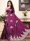 Byzantium Purple Satin Designer Party Saree