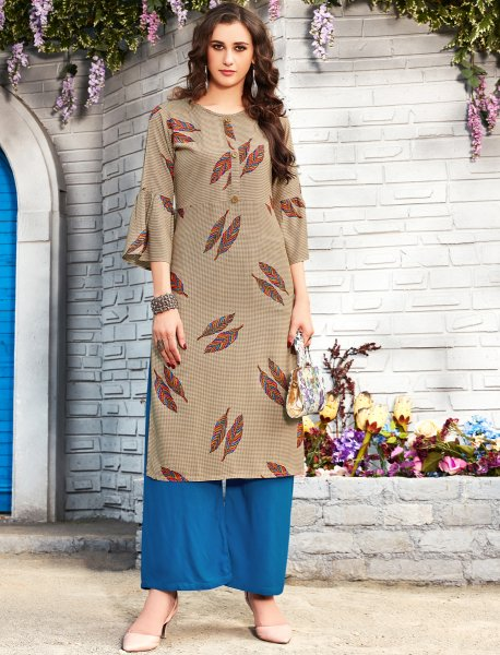 Khaki Brown Rayon Printed Party Kurti
