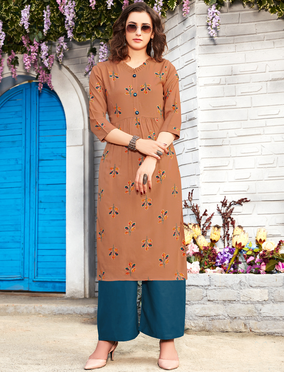 Copper Brown Rayon Printed Party Kurti